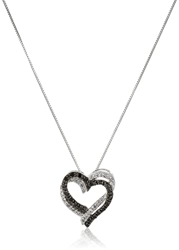 Amazon 10k white gold black and white diamond double heart 10k white gold black and white diamond double heart pendant necklace 15 cttw mozeypictures Choice Image