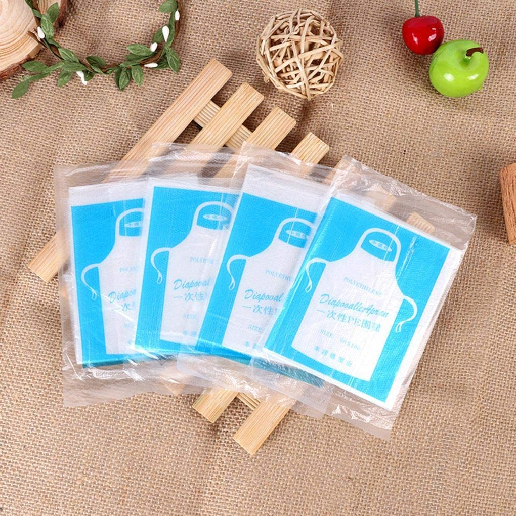 Hotaluyt 100pcs Disposable Apron Clear Bib Transparent Waterproof Anti Dust Plastic Cooking Painting Sleeveless Supplies