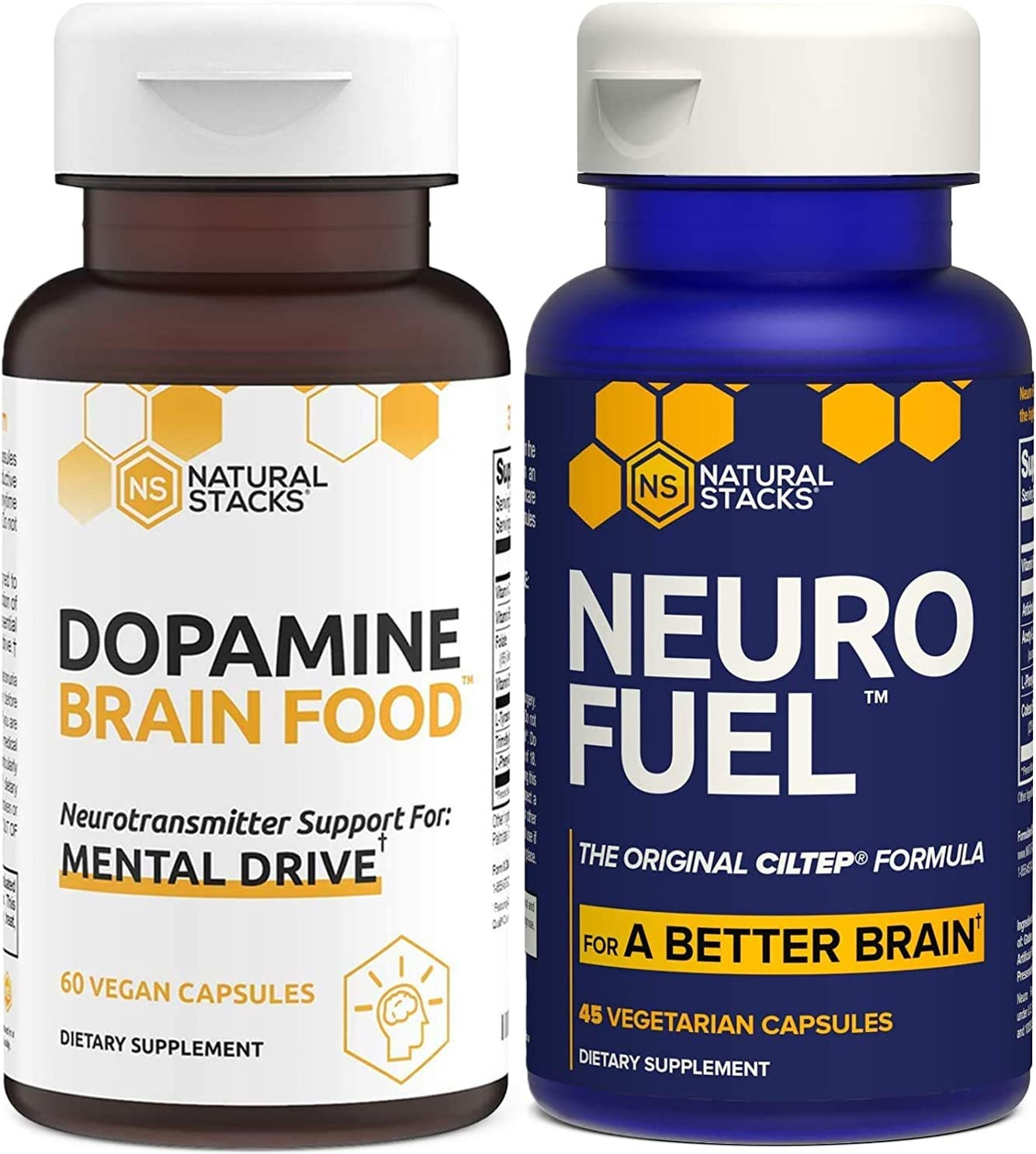 Natural Stacks Bundle - NeuroFuel Brain Supplement (45ct) and Dopamine Brain Food (60ct) - Improved Focus, Memory, and Motivation, Better Mood and Relaxation
