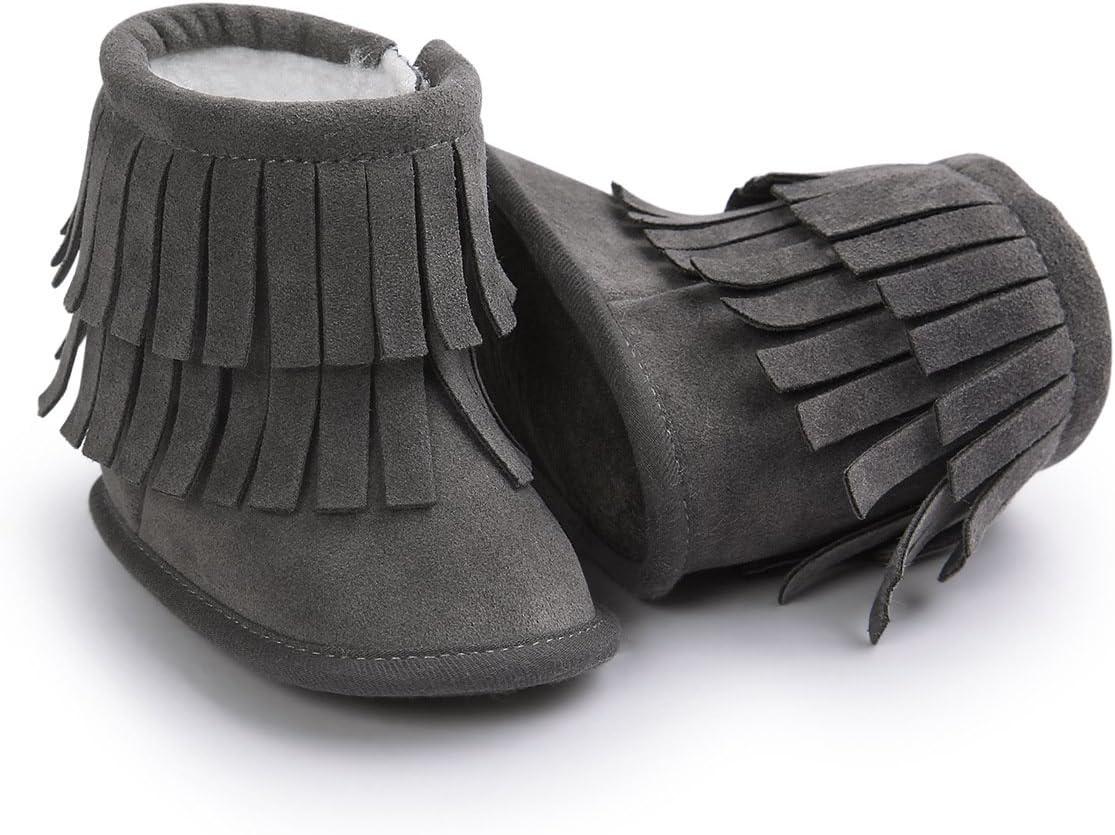 Butterme Unisex Infant Baby Tassel Pl/üsch Sneaker Schuhe Anti-Rutsch Prewalker Outdoor Warm Schnee Stiefel 12-18 Months