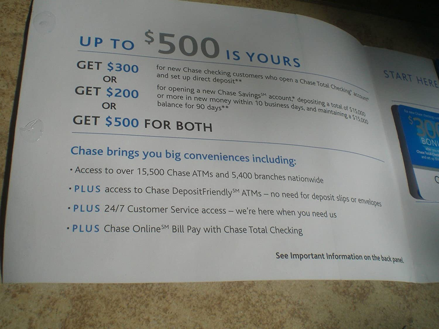 Amazon com : Chase $500 Bonus Coupon $300 Checking/$200
