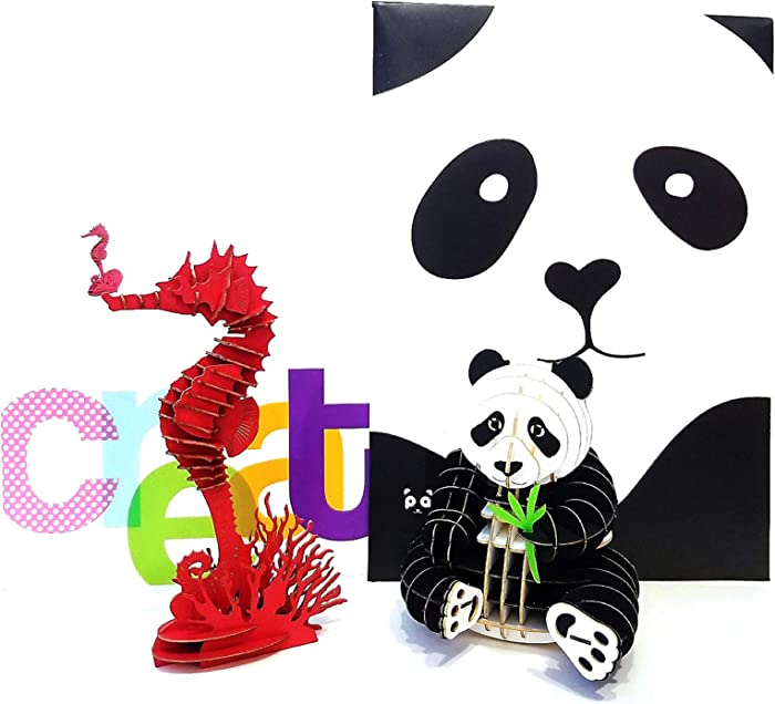 Panda Gifts 3D Puzzle Panda Model Seahorses Model Puzzles for Adults or Kids. Great Party Favors or Office Decor (Panda&Seahorses Puzzle)