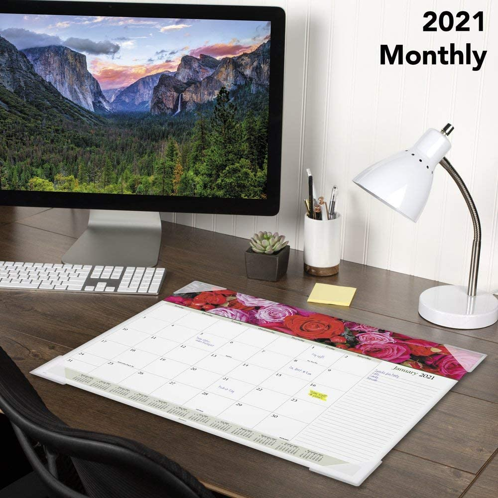 2021 Desk Calendar by AT-A-GLANCE Monthly Desk Pad 89805-21 Floral Panoramic 21-3//4 x 17 Standard