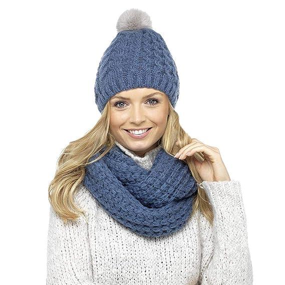 site officiel profiter de gros rabais magasiner pour véritable DINZIO - Ensemble bonnet, écharpe et gants - Femme - Bleu ...