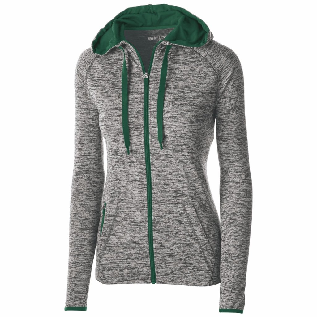 Holloway Dry Excel Ladies Force Full Zip Jacket (Small, Carbon Heather/Forest)