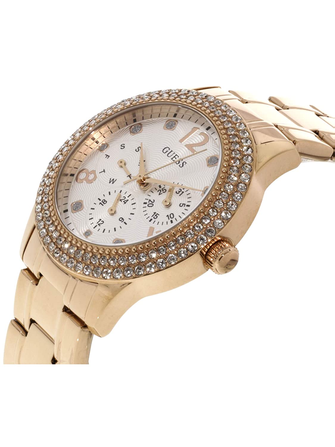 Amazon.com: Guess Bedazzle Rose Gold Dial Stainless Steel Ladies Watch W1097L3: Guess: Watches