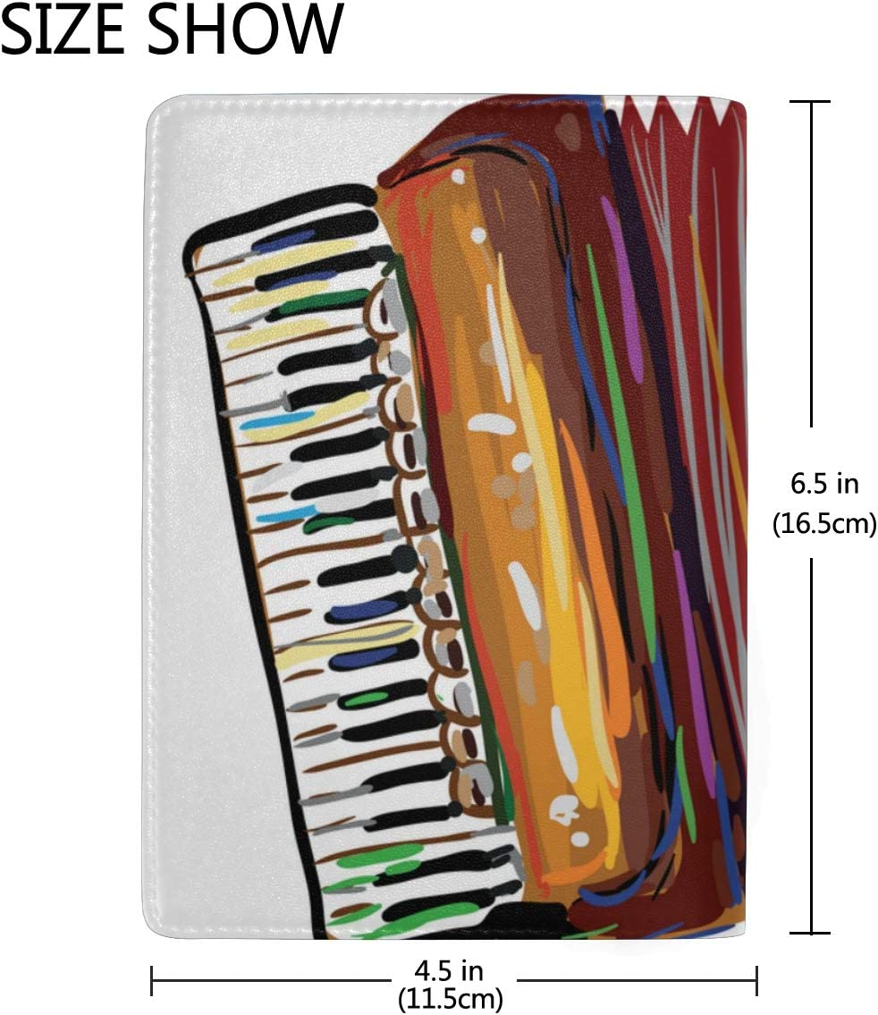 Passport Holder Cover For Men Beautiful Melody Accordion Stylish Pu Leather Travel Accessories Passport Case Girls For Women Men