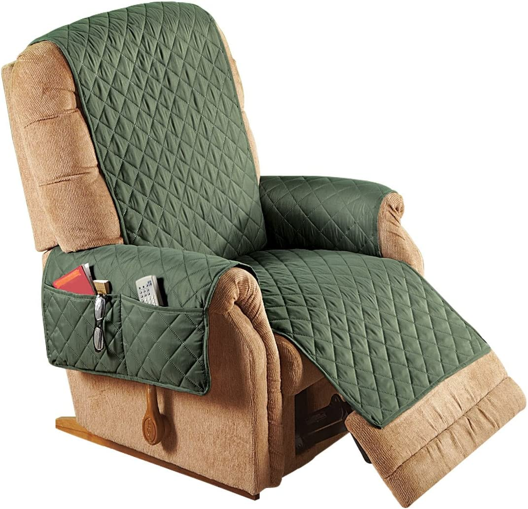 Brown Color Brown 80 L x 65 W Carol Wright Gifts Reversible Furniture Covers with Pockets 80 L x 65 W Size Recliner Size Recliner
