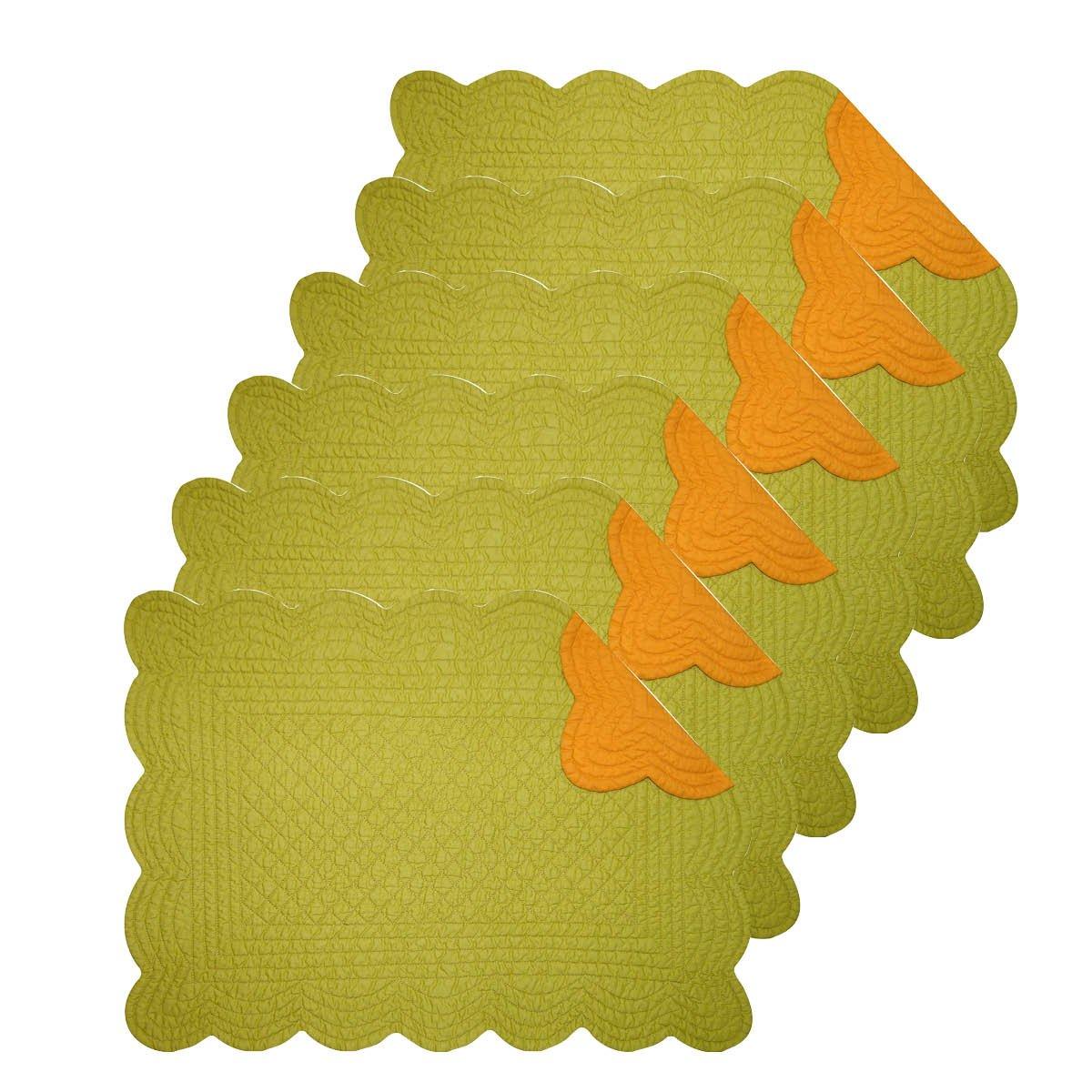 オリーブオレンジ13 x 19キルト風長方形プレースマット6のセット   B0762QPSFG