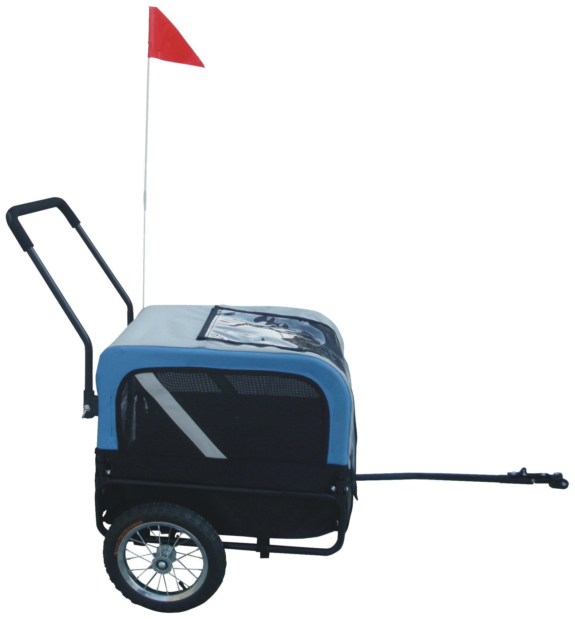 MDOG2 MK1484 Comfy Pet Bike Trailer/Jogging Stroller, Small, Blue/Grey