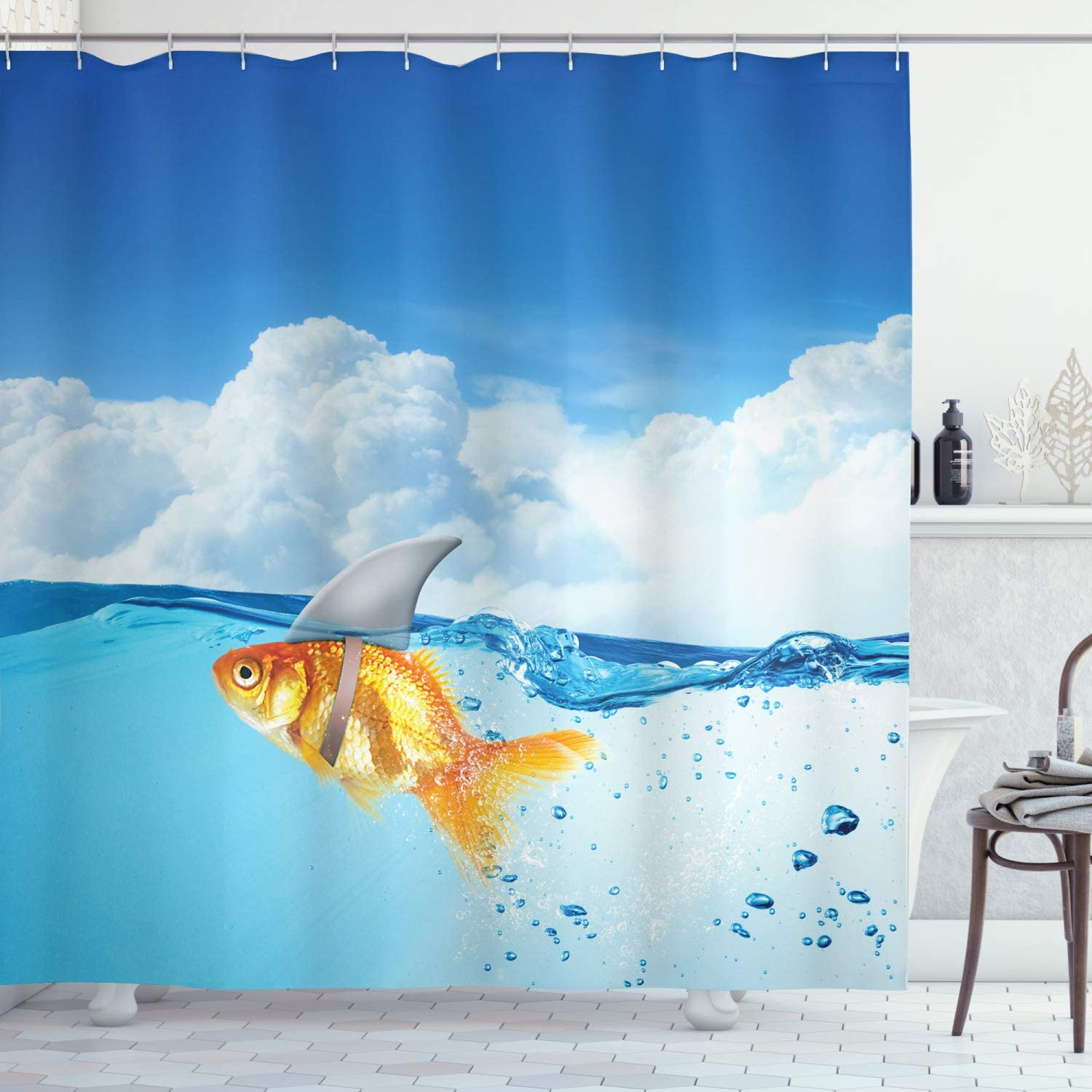 """Ambesonne Shark Shower Curtain, Goldfish with Shark Fin on Top of The Water Fake Comical Humorous Nature Image, Cloth Fabric Bathroom Decor Set with Hooks, 70"""" Long, Blue Orange"""