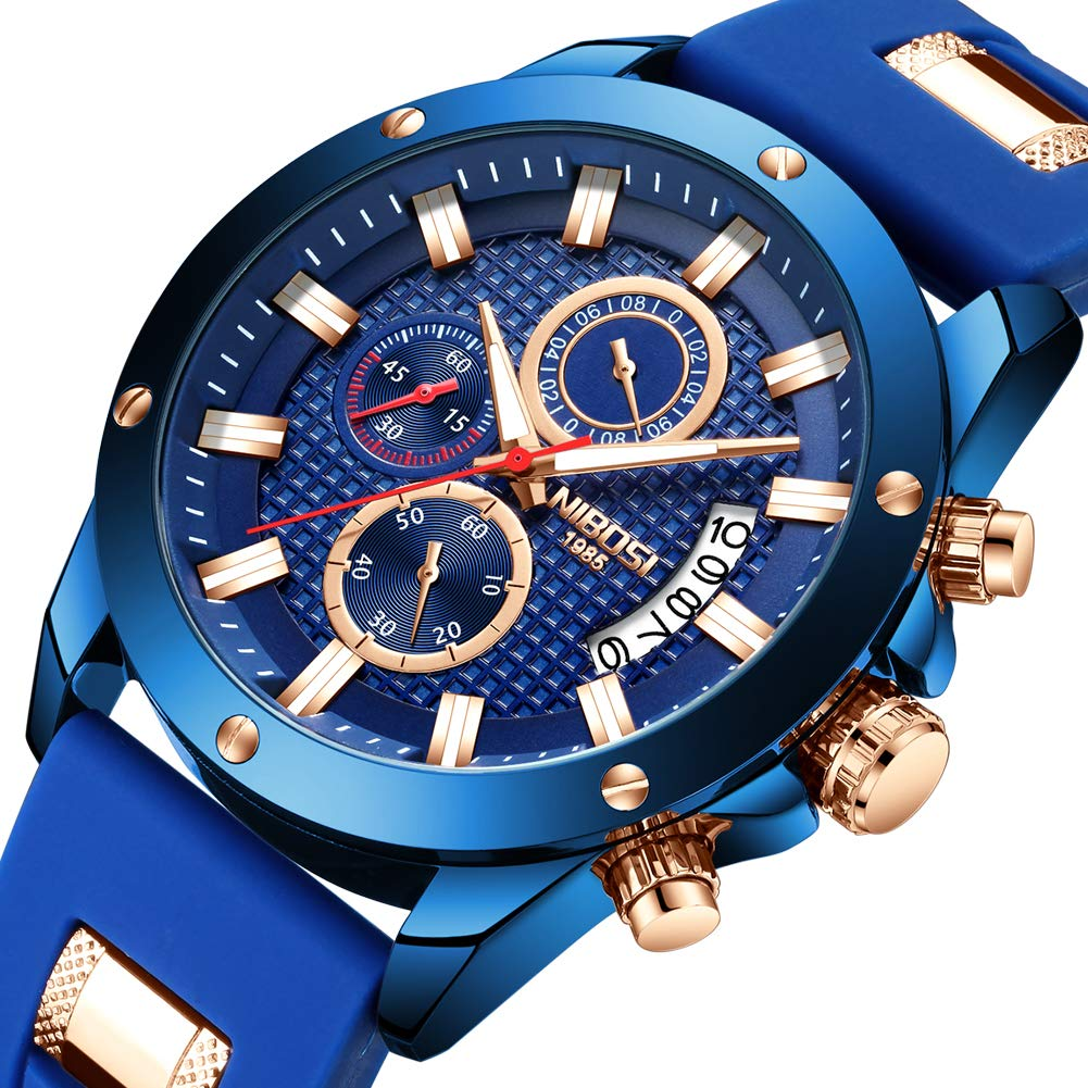Amazon.com: NIBOSI Watches Mens Chronograph Fashion Waterproof Quartz Wrist Watch for Men: Watches