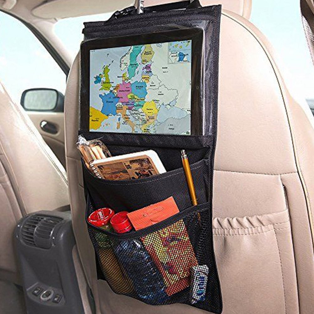 SHiZAK High Road Car Back Seat Organizer Multi-Pocket Travel Storage With Touch Screen iPad Tablet Holder (Black)