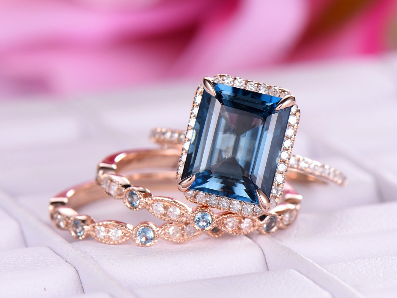 Amazon.com: Emerald Cut London Blue Topaz Engagement Ring Trio Sets ...