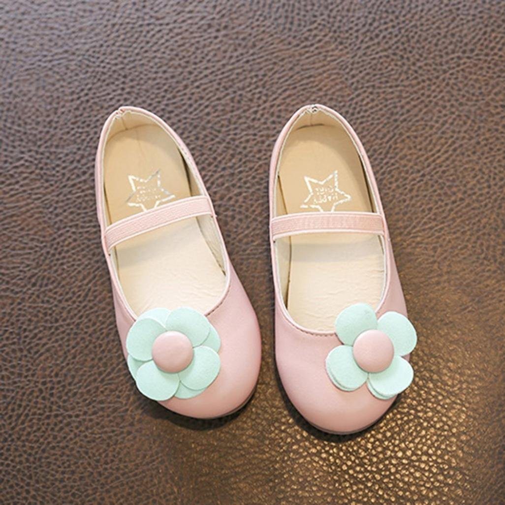 Voberry Children Infant Kids Girls Flower Leather Princess Single Casual Shoes Mary Jane Sneakers