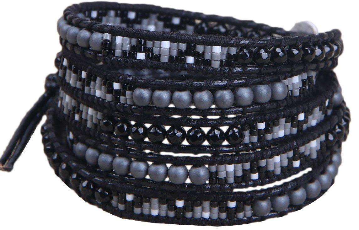 KELITCH Multi Row Bracelet Created Turquoise with Seed Bead 5 Wrap Bracelet Bangle (Black)