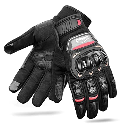 CARCHET Motorradhandschuhe Sommerhandschuhe 1KP Motorrad Handschuhe aus Leder Touchscreen Fallschützend mit Harter Schutzhülle Rutschfest