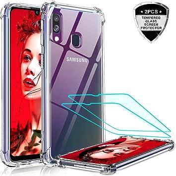 LeYi Funda Samsung Galaxy A40 con [2-Unidades] Cristal Vidrio ...