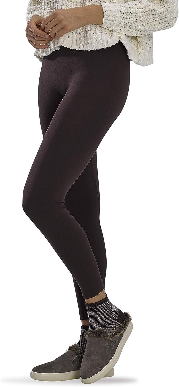 HUE womens Legging & Cozy Giftbox Casual Socks, Brown Stripe Sock - Espresso Brushed Legging, Medium-Large US