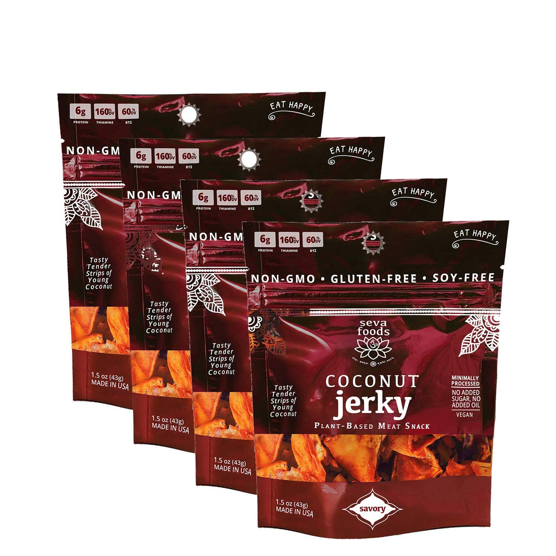 Seva Foods 4-Pack Organic Savory Coconut Jerky (Soy-Free Vegan Strips), 6 oz Total Weight - 8 Servings