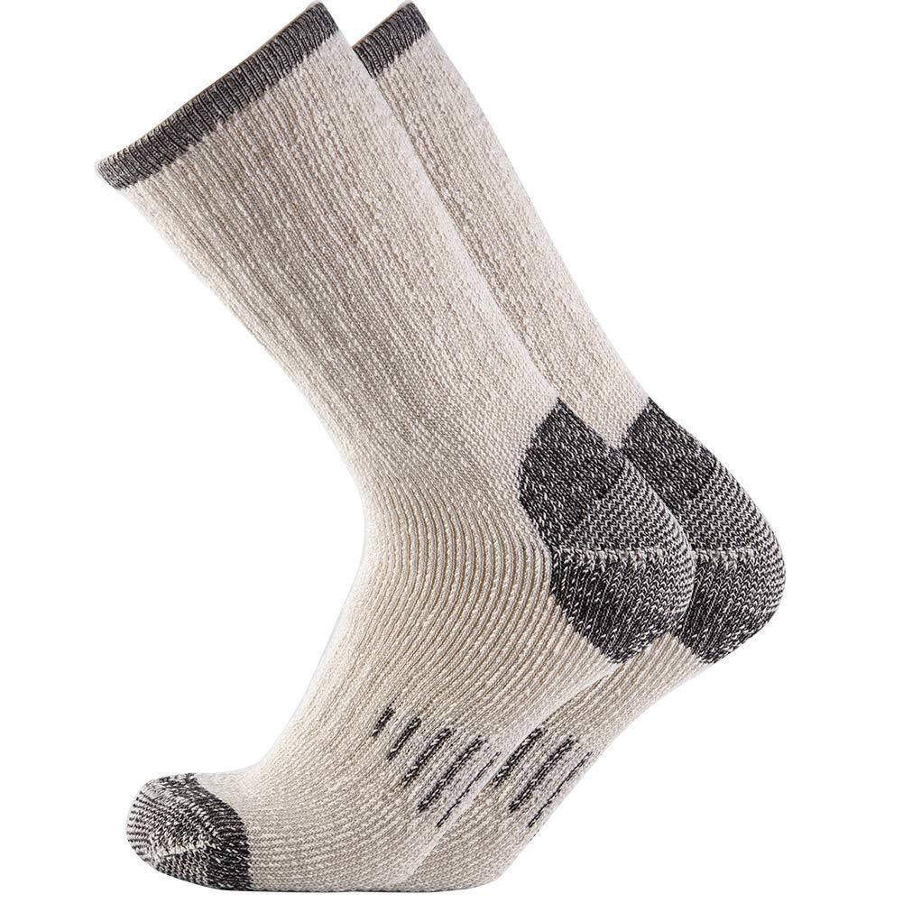 Men 70% Merino wool Crew Socks - NEVSNEV Warm Socks for Men, Athletic Socks for Hiking, Skiing,Trekking,Camping (1 Pair Black) by NEVSNEV