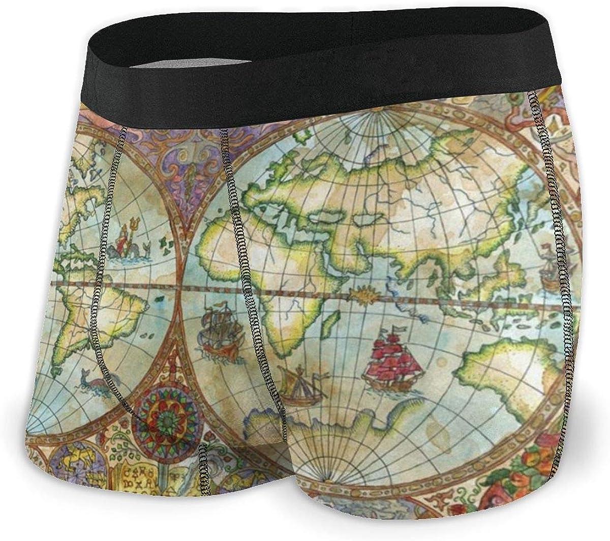 Vintage World Map Mens Underwear Cotton Sport Shorts Bulge Pouch S-XXL
