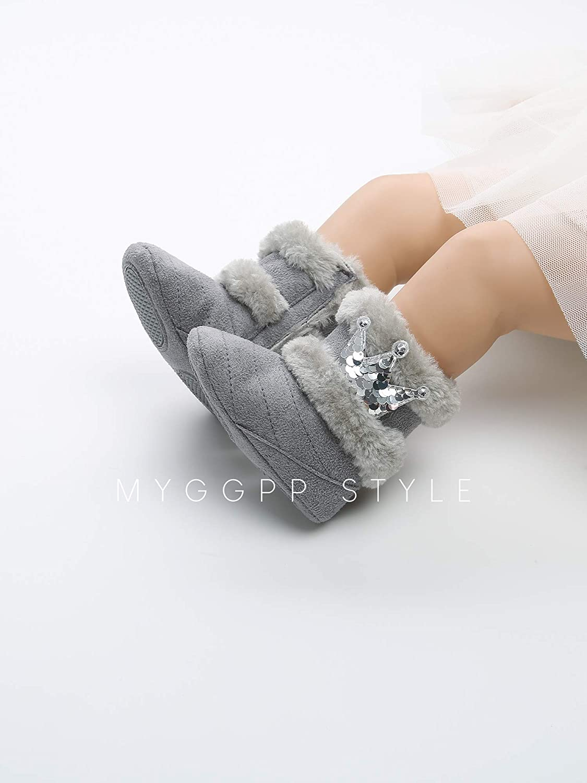 Kuner Newborn Baby Girl Boots Soft Non-Slip Knit Flower Warm Winter Snow Boots
