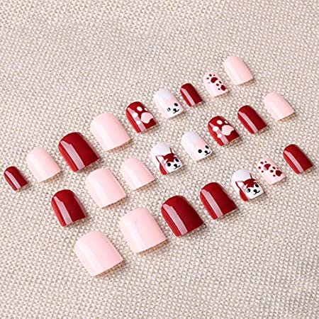 Amazon.com: 2Pack 24Pcs 12 Different Full Cover Short Square French Nude Pink and Red wine with paw small animals Nail Tips Nail strips for women and girls: ...