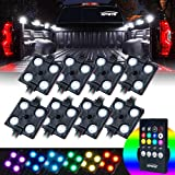 Xprite RGB LED Truck Bed Lights Kit w/Wireless Remote Control,8 PC Multi-Color Rock Rail Light Neon Lighting Pod for…