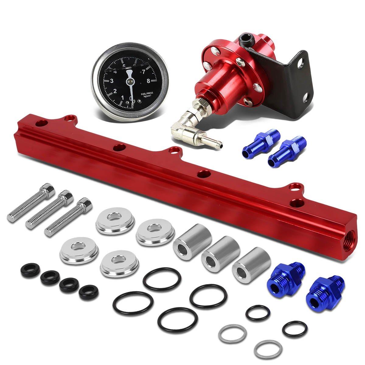 For Honda B-Series Top Feed Fuel Injector Rail Kit (Black)+Fuel Pressure Regulator (Red) Auto Dynasty