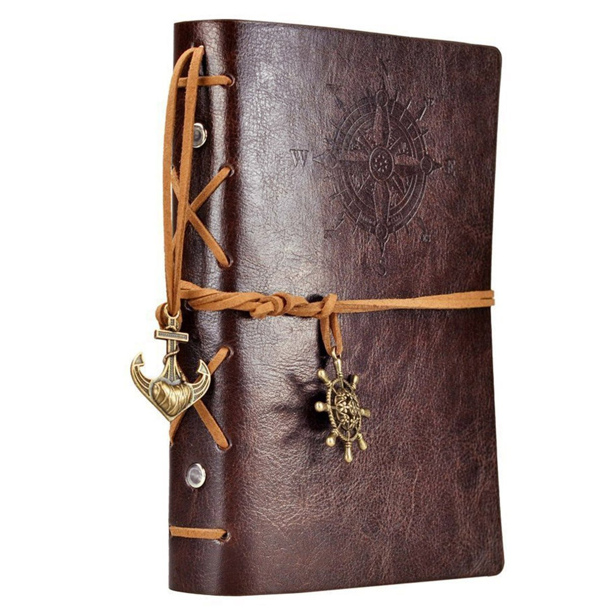 EvZ Leather Writing Journal Notebook, 7 Inches Vintage Nautical Spiral Blank String Diary Notepad Sketchbook Travel to Write in, Unlined Paper, Retro Pendants, Classic Embossed, Coffee