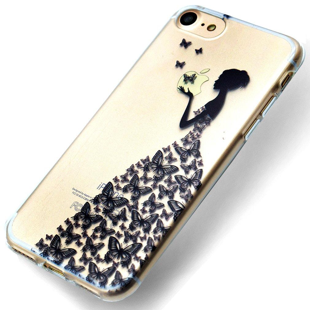 Funda iPhone 6/6s, Carcasa iPhone 6/6s Telé fono Caso Cubrir Transparente, Ultrafina Rigida Anti-rasguñ e Anti Choques Anti-Arañ azos Funda, Patró n de Campá nula Piel Protectora Shell TPU Gel Silicona para iPhone 6/6s OU