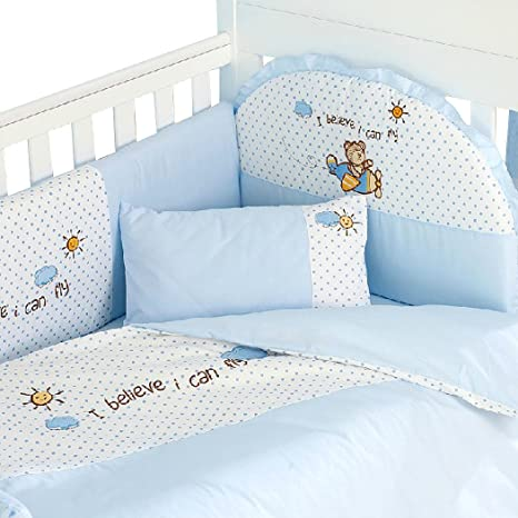 H:oter Blue Flying Bear Pure Cotton 11 Pieces Crib Nursing Bedding Set, Baby