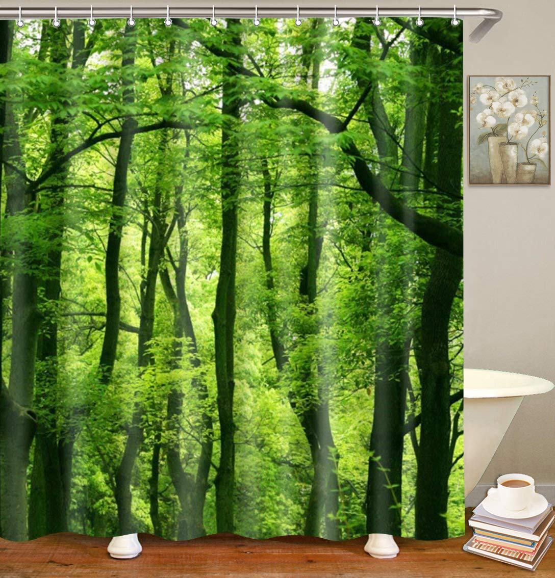 Forest Shower Curtain Set for Bathroom Waterproof Bathroom Curtain with 12 Hooks 72 by 72 inches, Green by Dynabit