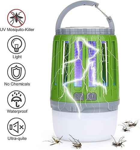 Odoland Lámpara de Camping 2-in-1 Asesino de Mosquito, Antimosquitos, Lámpara de Dormitorio, Jardín, Camping - 2 Modos de Iluminación, Recargable: Amazon.es: Deportes y aire libre