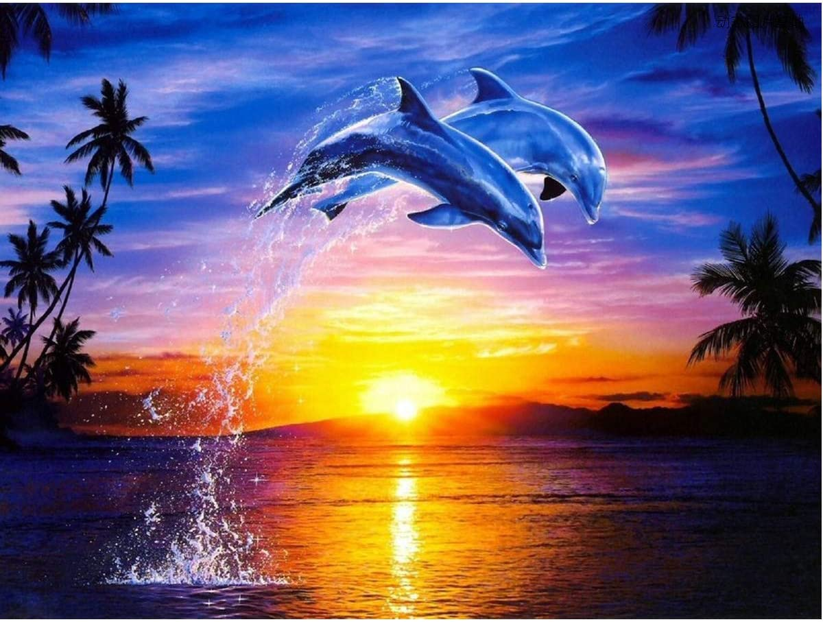 DIY 5D Diamant Painting - Dolphin Love 30x40cm