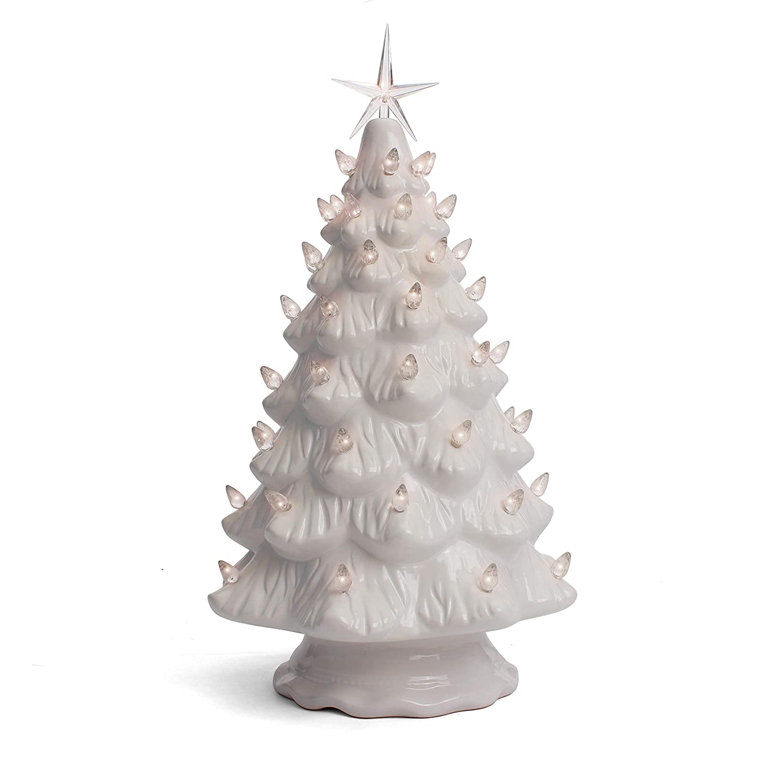 Milltown Merchants Ceramic Christmas Tree Tabletop Christmas Tree Lights 15 5 Large White Christmas Tree White Lights Lighted Vintage Ceramic