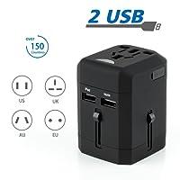 International Travel Adapter - Worldwide Use Travel Charging Adapter with Dual USB Port, black - [ DAGO-Mart Quality Guarantee ]