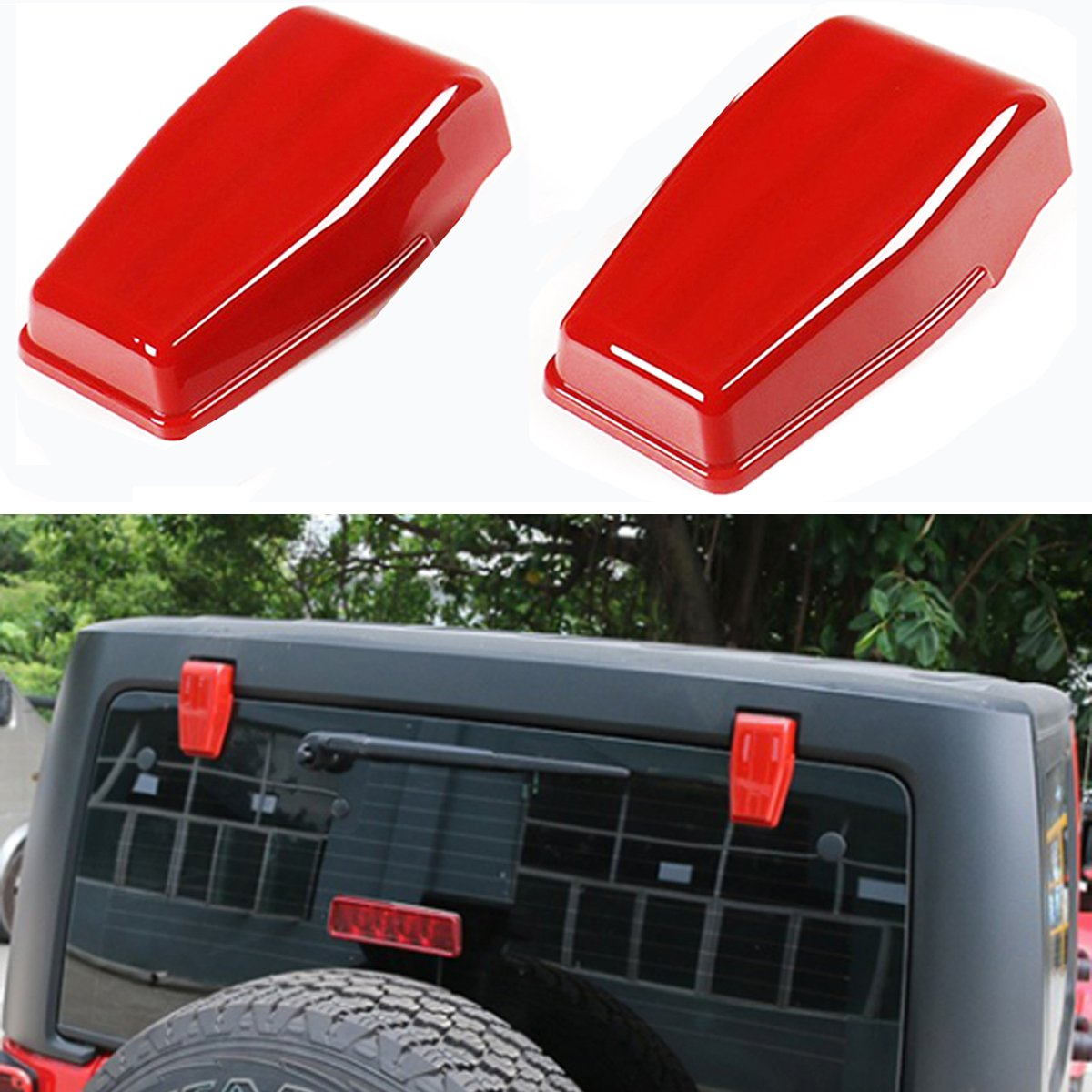 MOEBULB Tailgate Hinge Cover Spare Tire Rear Door Liftgate Trim for 2007-2017 Jeep Wrangler JK /& Unlimited Red,2-Pack