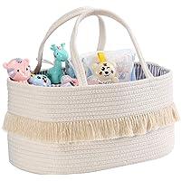 Baby Diaper Caddy Organizer Basket - Cotton Rope Large Portable Nursery Storage Bin with 2 Inner Pockets(Beige)