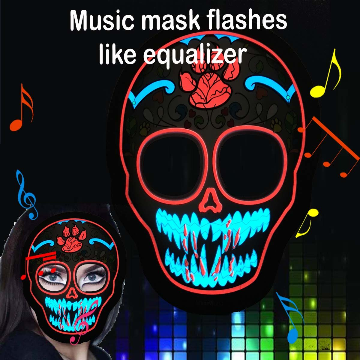 ShineWorld Music LED Party Mask with Sound Active for Dancing, Riding, Skating, Party and Any Festival Party and Any Festival (Blue Skull) Flashing world