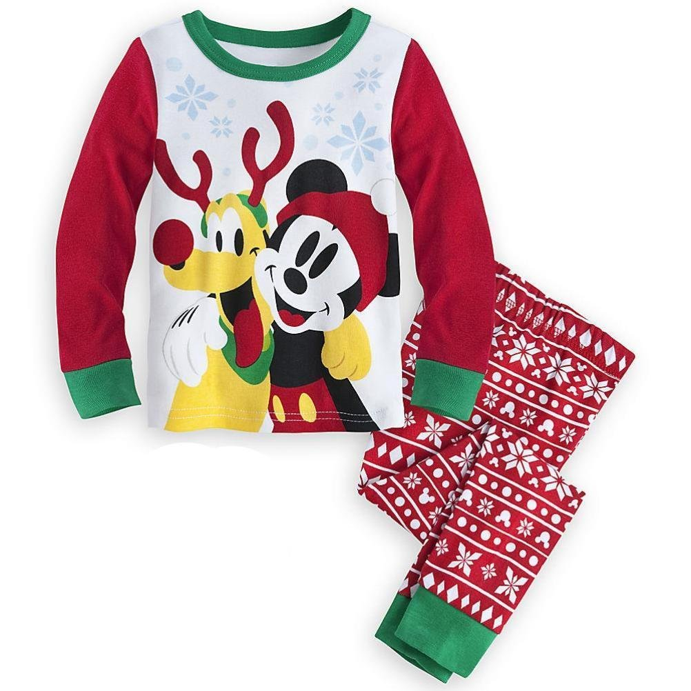 Disney Store Mickey Mouse Pluto 2PC Holiday Christmas Tight Fit Pajama Set Size 6