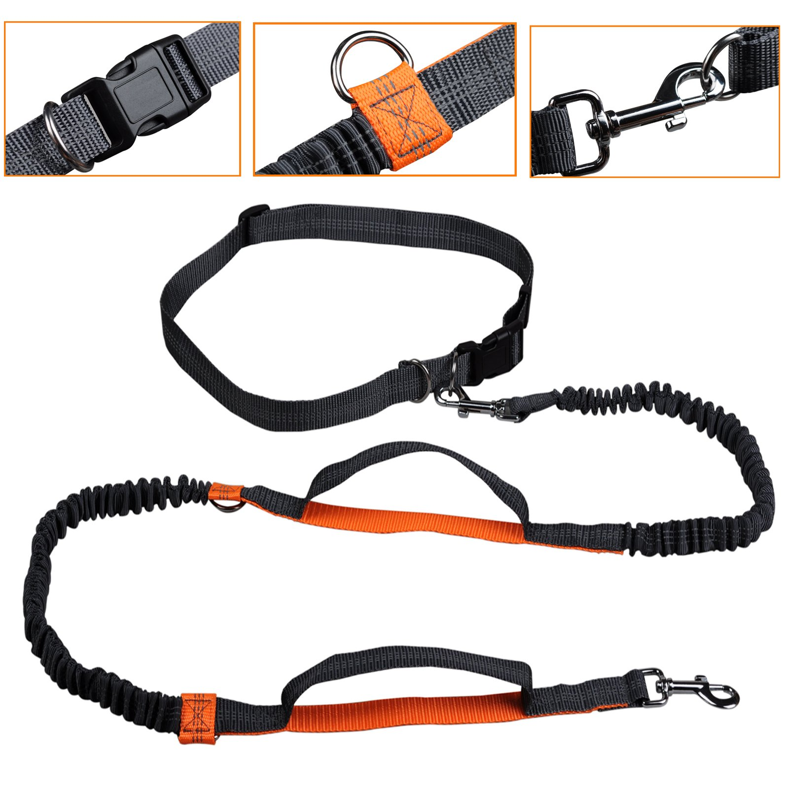 Retractable Hands Free Dog Leash, Dual-Handle Bungee Extendable Shock Absorbing Leash Reflective Stitching Adjustable Waist Belt for For Running, Walking, Hiking, Dog Training Up to 150 lb Large Dogs