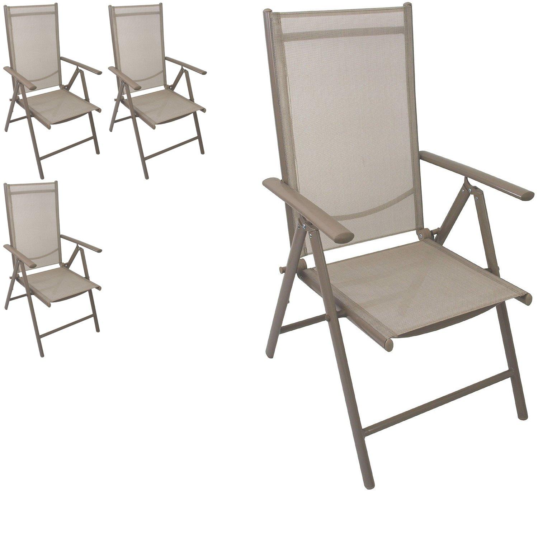 4 Stück Aluminium Hochlehner Positionsstuhl klappbar Liegestuhl mit robuster Textilenbespannung Lehne 7-Positionen verstellbar Gartenstuhl