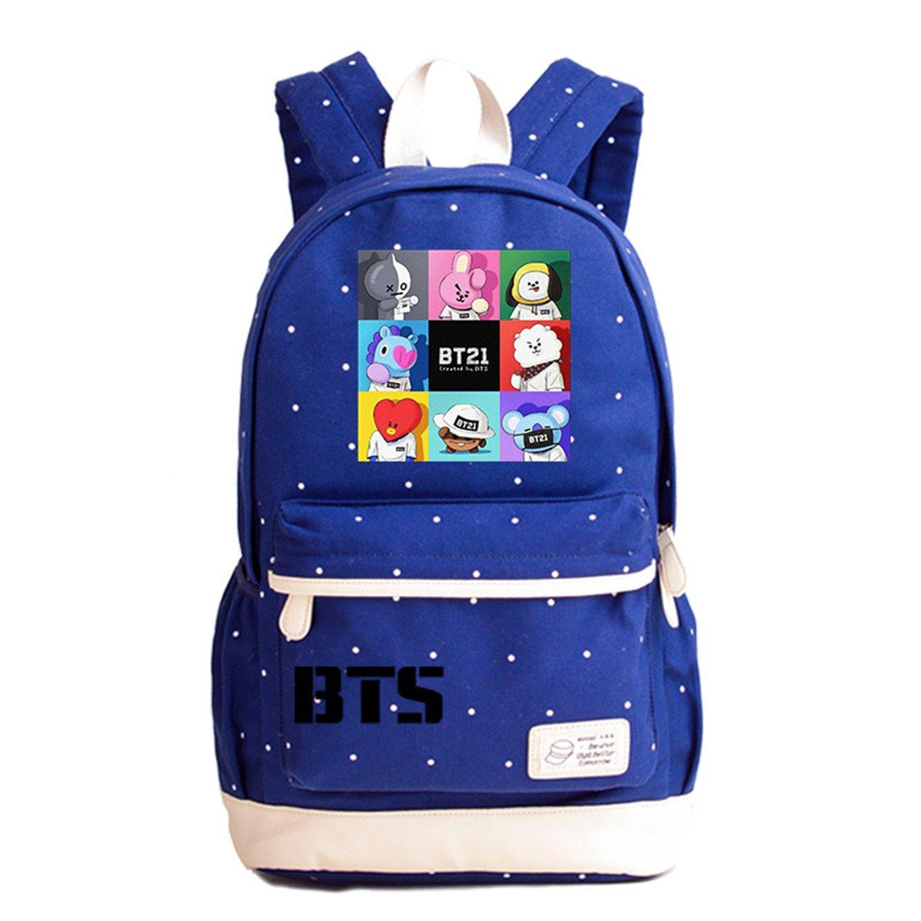 JUSTGOGO Luminous Korean Casual Backpack Daypack Laptop Bag College Bag Book Bag School Bag (Dark Blue 13)