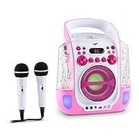 auna Kara Liquida • Kinder Karaoke Anlage • Karaoke Player • Karaoke Set • 2 x Mikrofon • CD+G-Player • USB • MP3-fähig • Video- und Audio Ausgang • Echo • LED-Lichteffekt • Wasserfontänen • pink