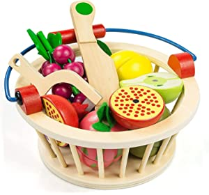 Victostar Magnetic Wooden Cutting Fruits Play Toy Set with Basket for Kids