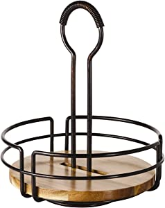 Gourmet Basics by Mikasa 5208928 Handover Acacia Wood Rotating Condiment Caddy, Antique Black