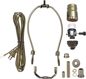 B&P Lamp Antique Brass Finish Table Lamp Wiring Kit With 10 Inch Harp, 3-Way Socket