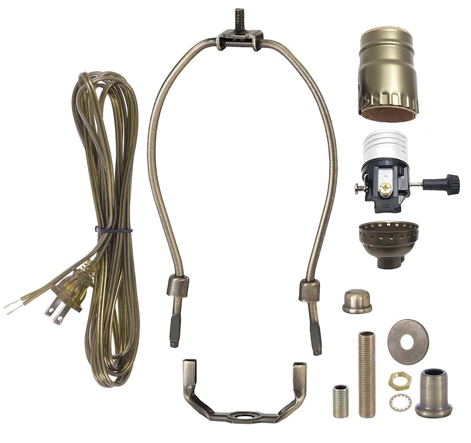 B&P Lamp Antique Brass Finish Table Lamp Wiring Kit With 9 Inch Harp, 3-Way Socket